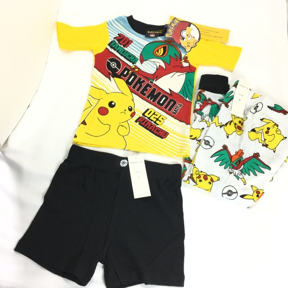 b2bbfeec6b Pokemon 4 6 8 Boys 3 Pc Pajama Set Pikachu Battle